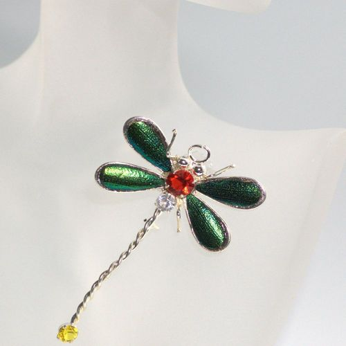 Emerald beetle brooch dragonfly silver plated