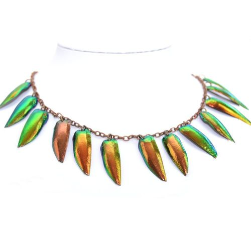 Bronze Necklace 13 Wings Gold 40 cm