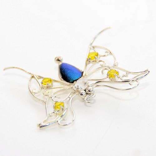 Emerald beetle butterfly silver plated with stones yellow