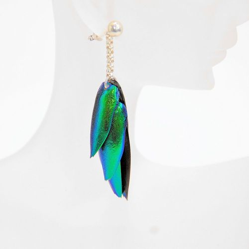 Ear plug Emerald beetle, pendant 6 Wings Green