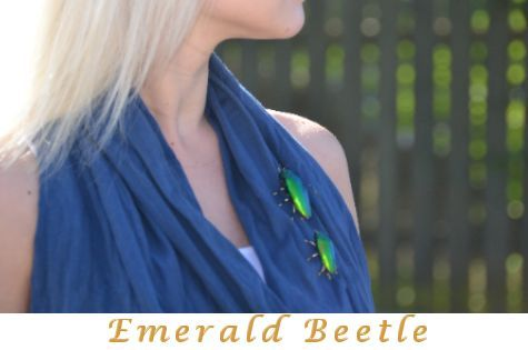 Emerald beetle jewelry