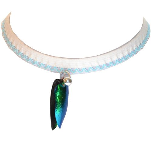 Choker Collars Emerald Beetle Wings with 925 silver ball, White