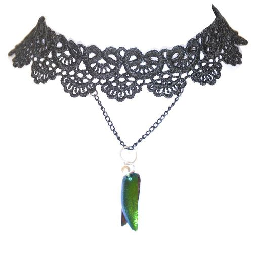 Choker collars wide emerald beetle wings with 925 silver ball, black
