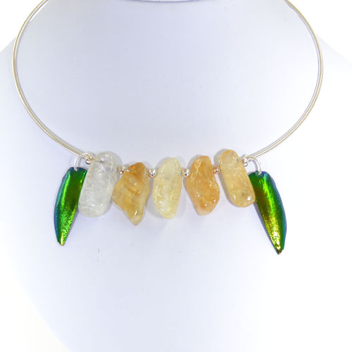 925 sterling silver choker with citrine 5 stones